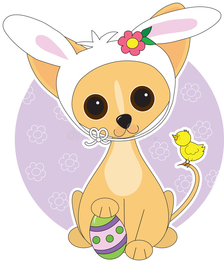 Chihuahua Easter. A cute Chihuahua dressed for Easter vector illustration