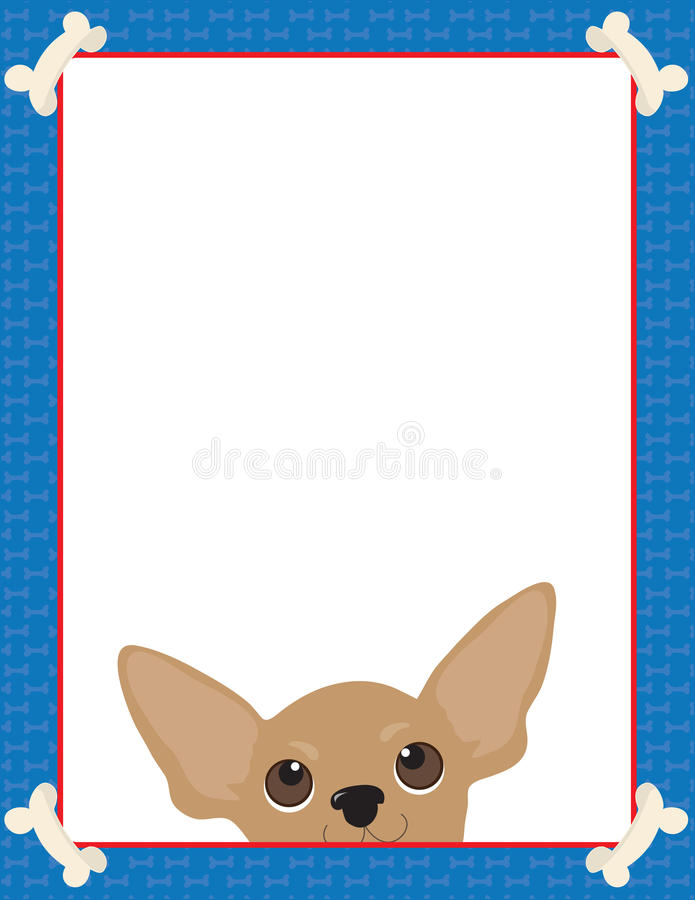 Chihuahua Frame. A frame or border featuring the face of a Chihuahua stock illustration