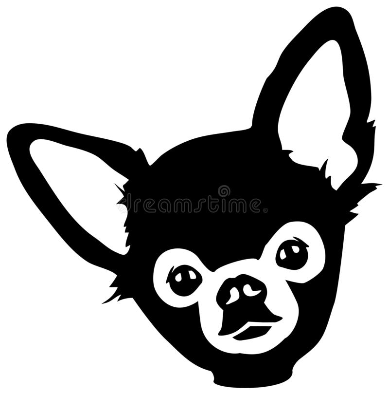 Chihuahua head. Black and white stock illustration