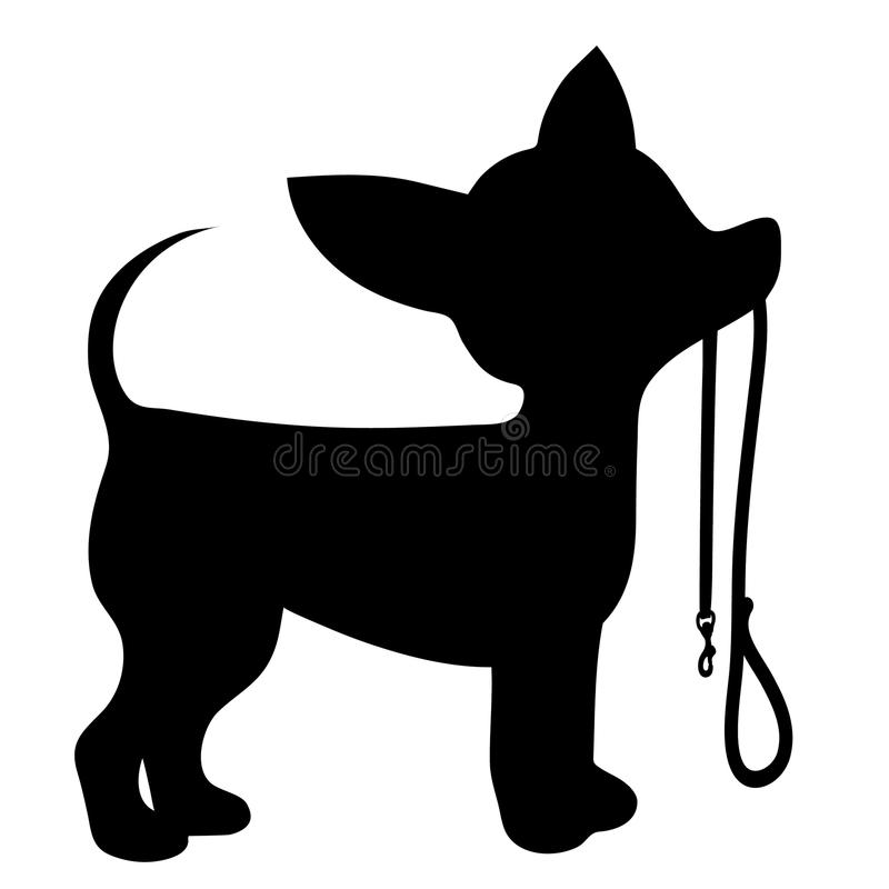 Chihuahua Leash. A cartoon black silhouette of a Chihuahua with a leash in its mouth stock illustration