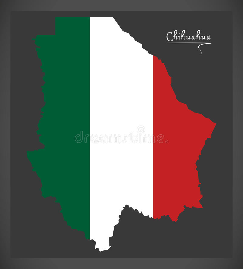 Chihuahua mapa z Meksykańską flaga państowowa ilustracją ilustracja wektor