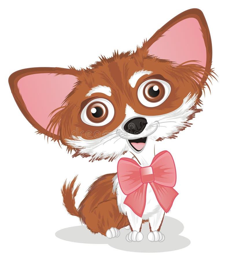 Chihuahua met een boog royalty-vrije illustratie