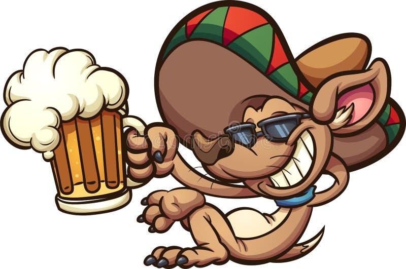 Chihuahua mexicana que guarda uma caneca de cerveja ilustração do vetor
