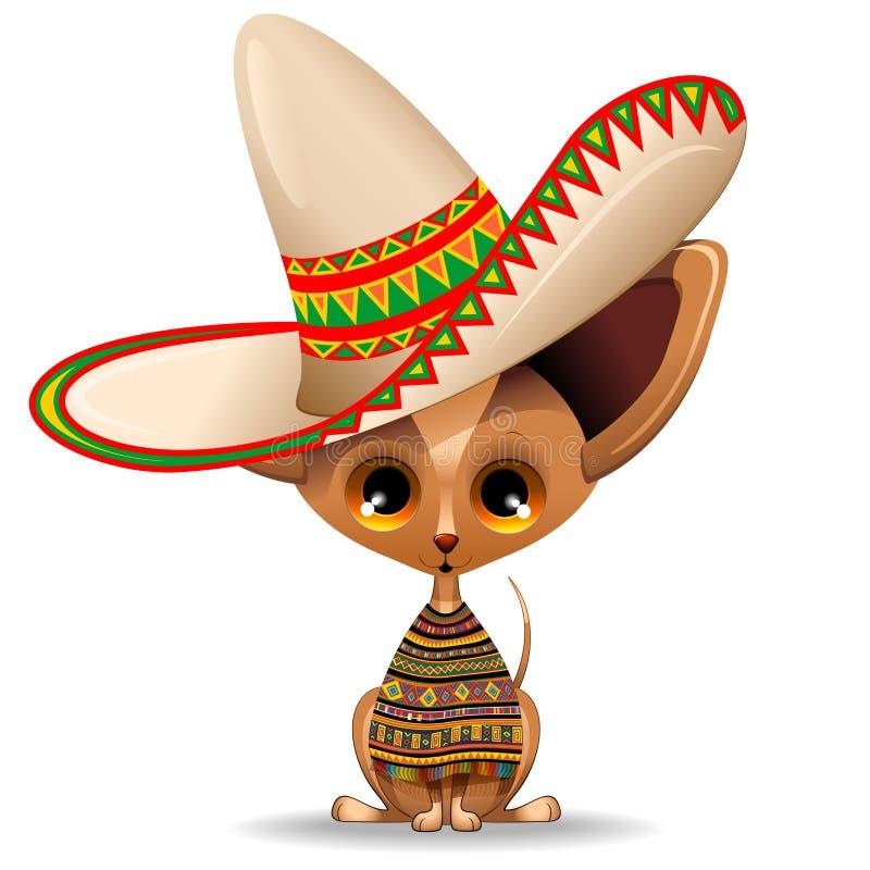 Chihuahua-netter kleiner Welpe mit mexikanischer Sombrero-Vektor-Illustration stock abbildung