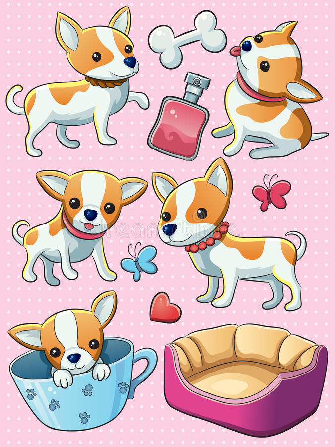 Chihuahua Puppy. Cartoon illustration of cute cheerful Chihuahua puppy royalty free illustration