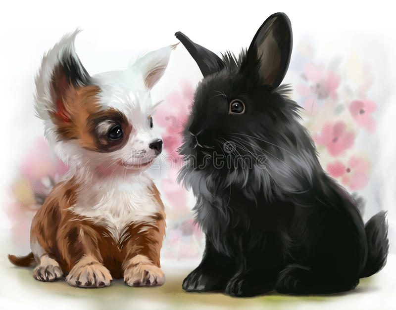 Chihuahua puppy and black rabbit. Watercolor painting stock illustration
