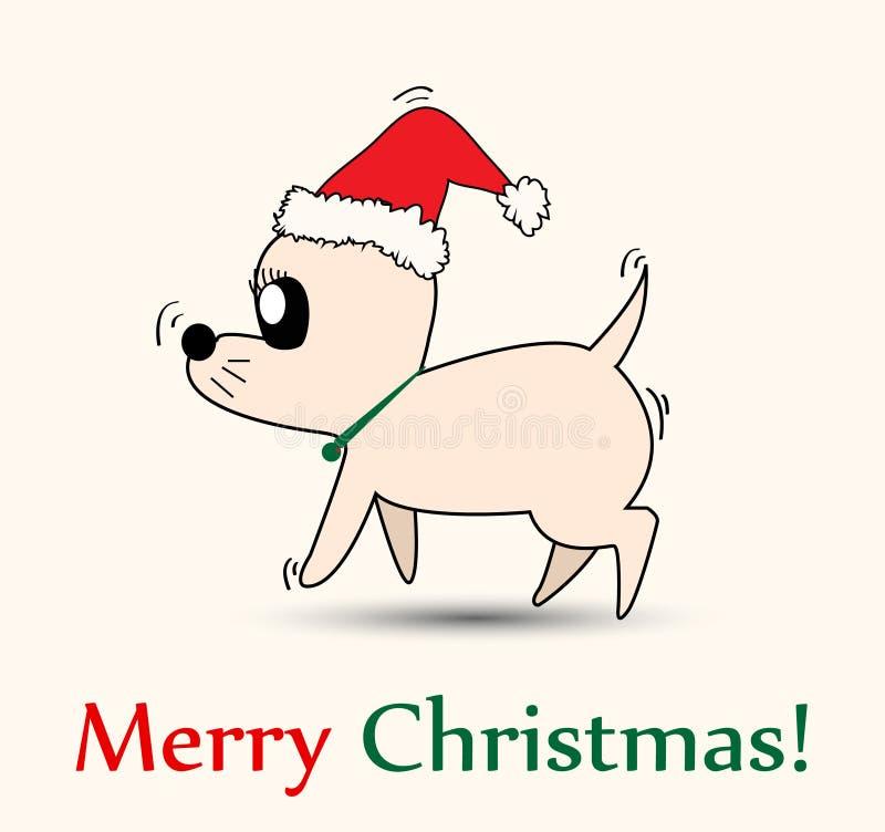 Chihuahua with Santa hat. Christmas Chihuahua with Santa hat stock illustration