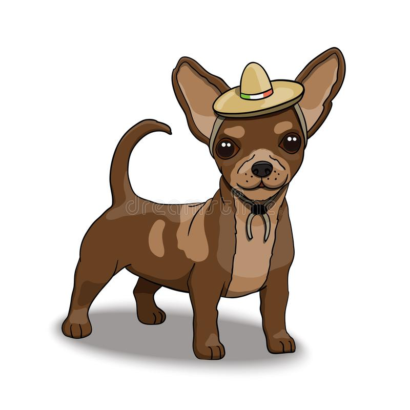 Chihuahua Smiling Cartoon Character Wearing Sombrero royalty free illustration
