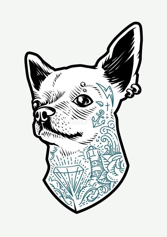 Chihuahua tatuada ilustración del vector