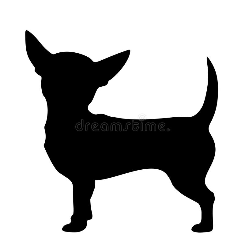 Chihuahuahond Vector zwart silhouet vector illustratie
