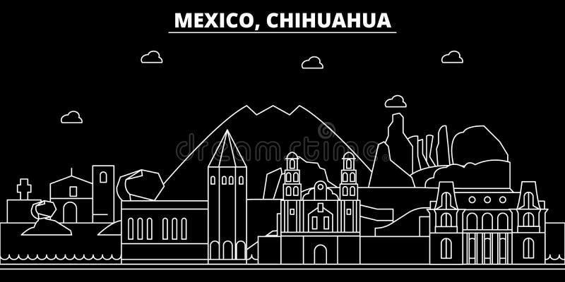 Chihuahuakonturhorisont Mexico - Chihuahuavektorstad, mexikansk linjär arkitektur, byggnader Chihuahualopp vektor illustrationer