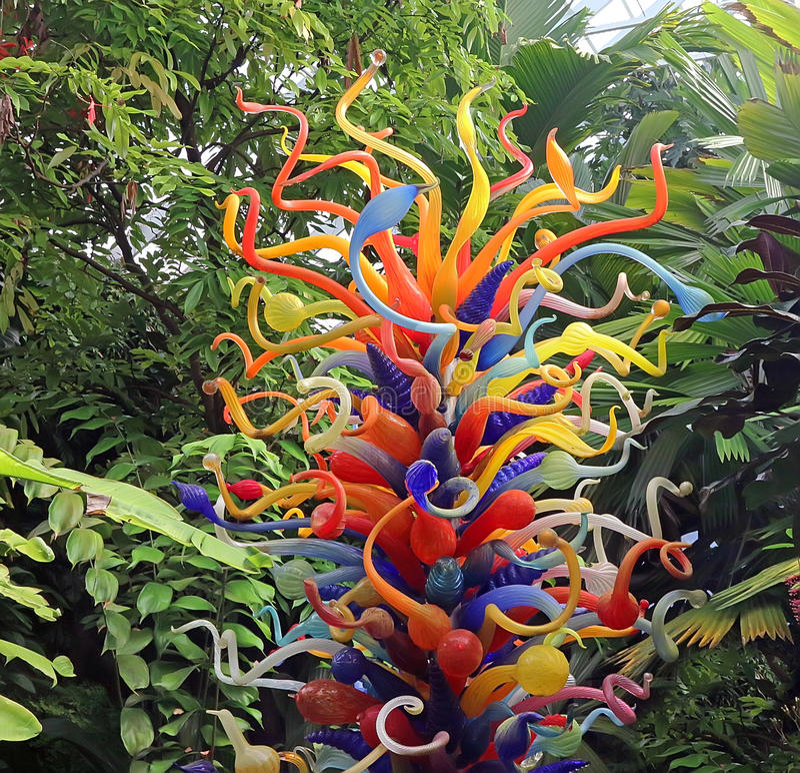 Chihuly trädgårdskulptur royaltyfria foton