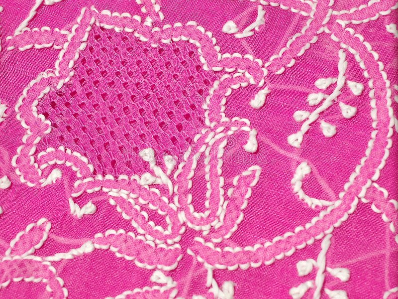 Chikan Embroidery Stock Image Image Of Cross Pink Thread 2701909