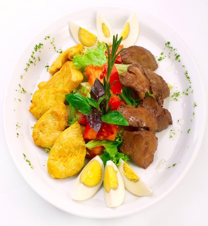 chiken свежие овощи салата печенки стоковые изображения rf