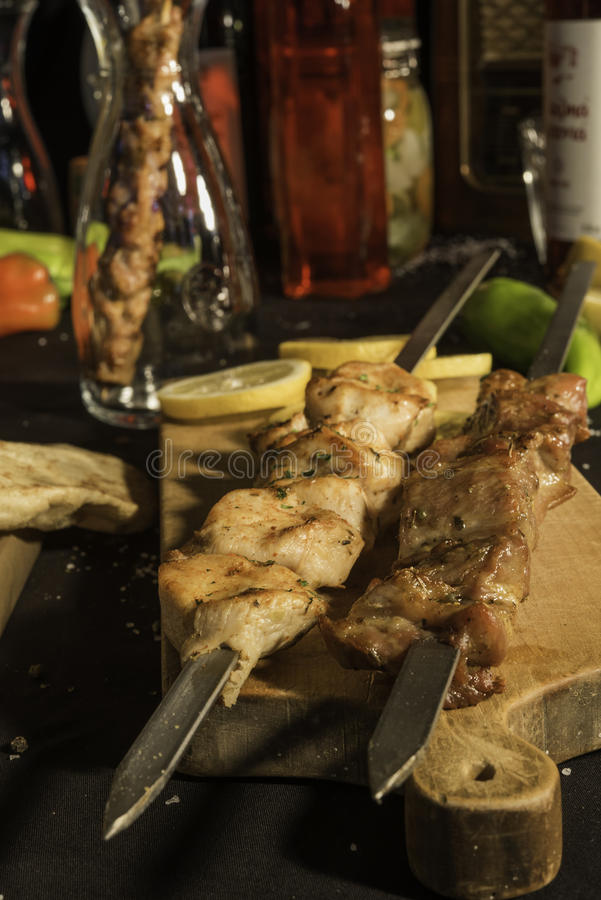 Chiken e carne de carne de porco fotografia de stock