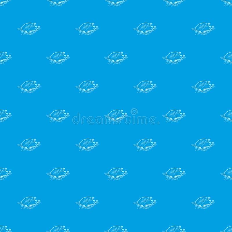 Chiken ha cucinato su un blu senza cuciture del modello del barbecue illustrazione vettoriale