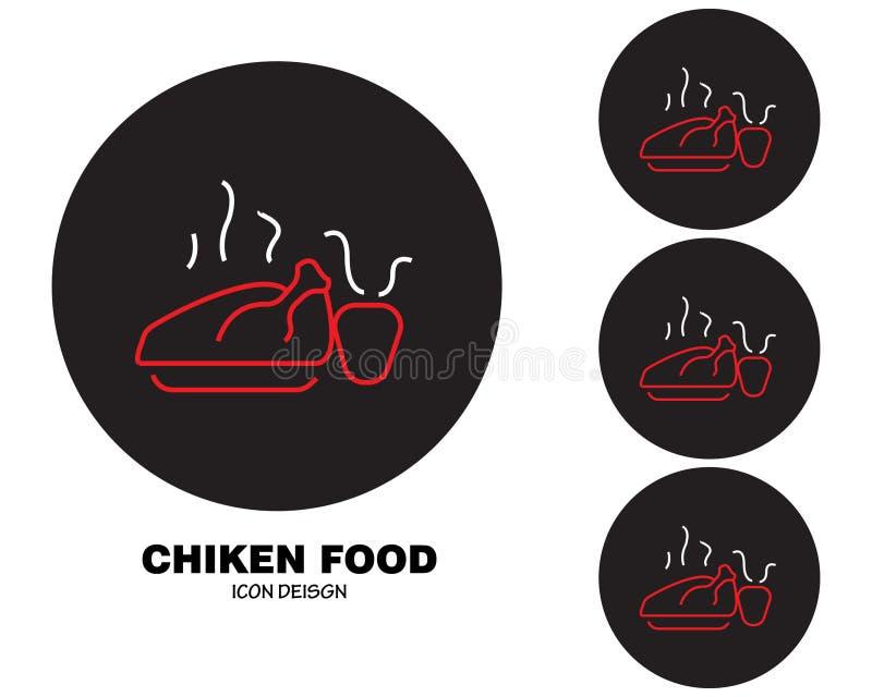 Chiken ikony karmowy projekt z czarnym okręgu stylem royalty ilustracja