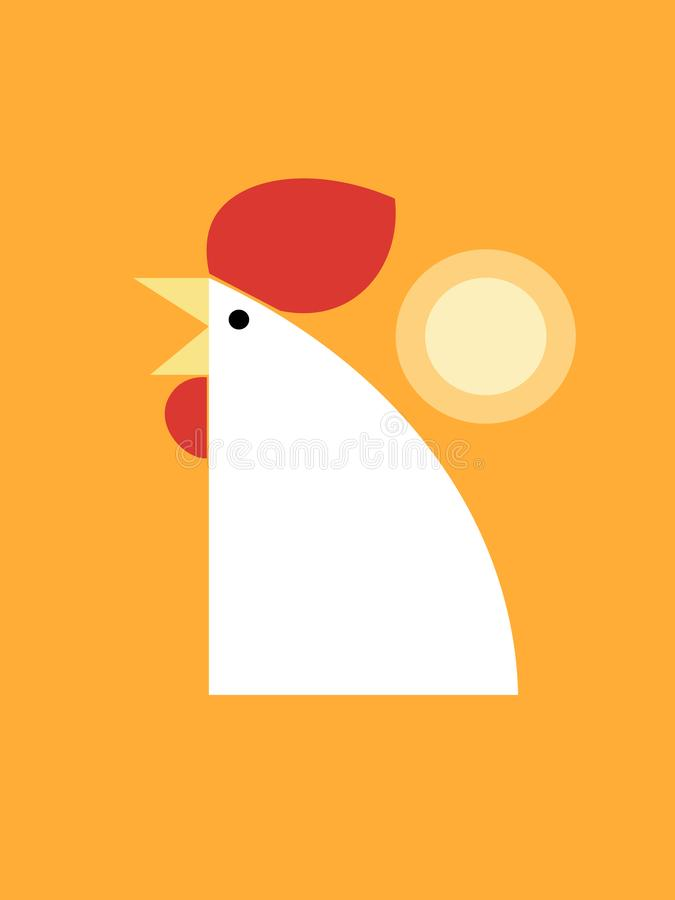 Chiken on a yellow background royalty free illustration