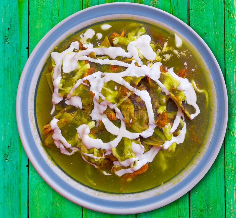Chilaquiles verdes green Mexico recipe stock photos