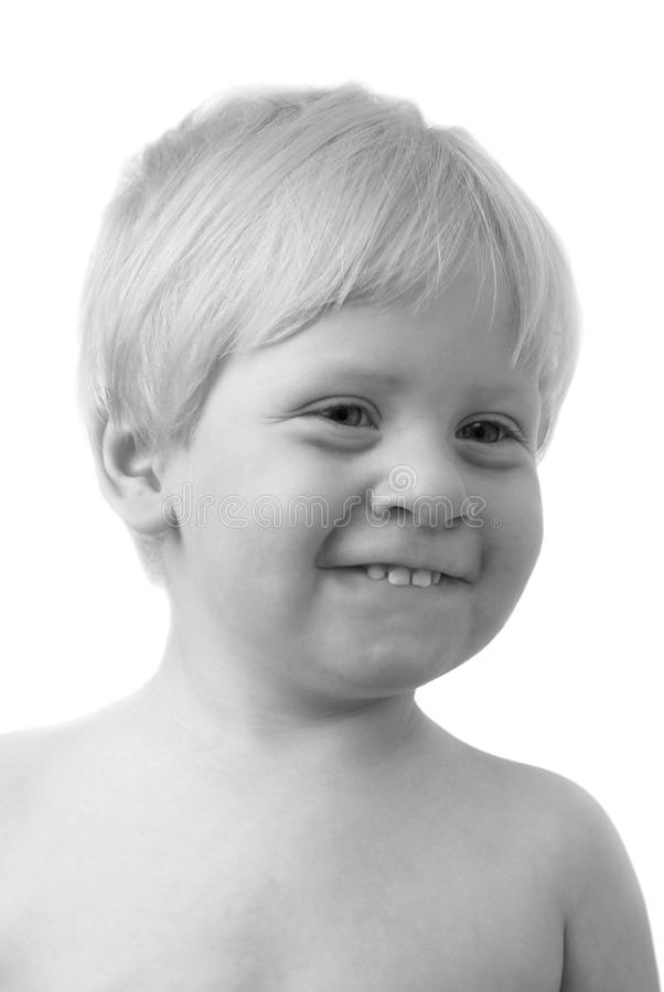 The child. Black-and-white photo of the child a close up royalty free stock photography