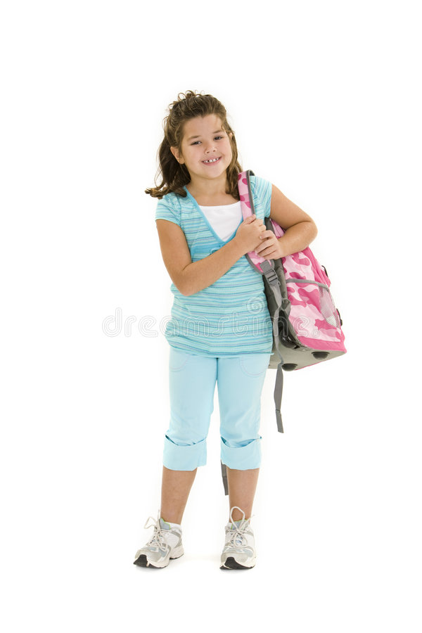 Child. Standing on a white background holding a school backpack royalty free stock photo