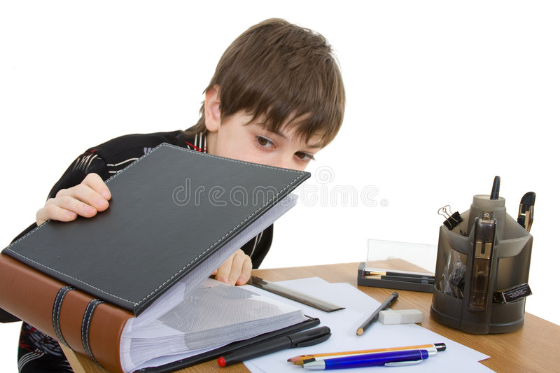 Child. With study of the difficulties on white background stock photos