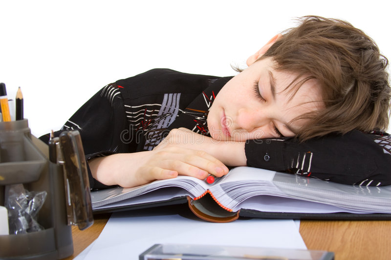 Child. With study of the difficulties on white background royalty free stock photo