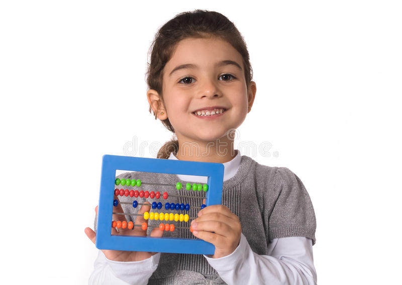 Child with abacus stock image