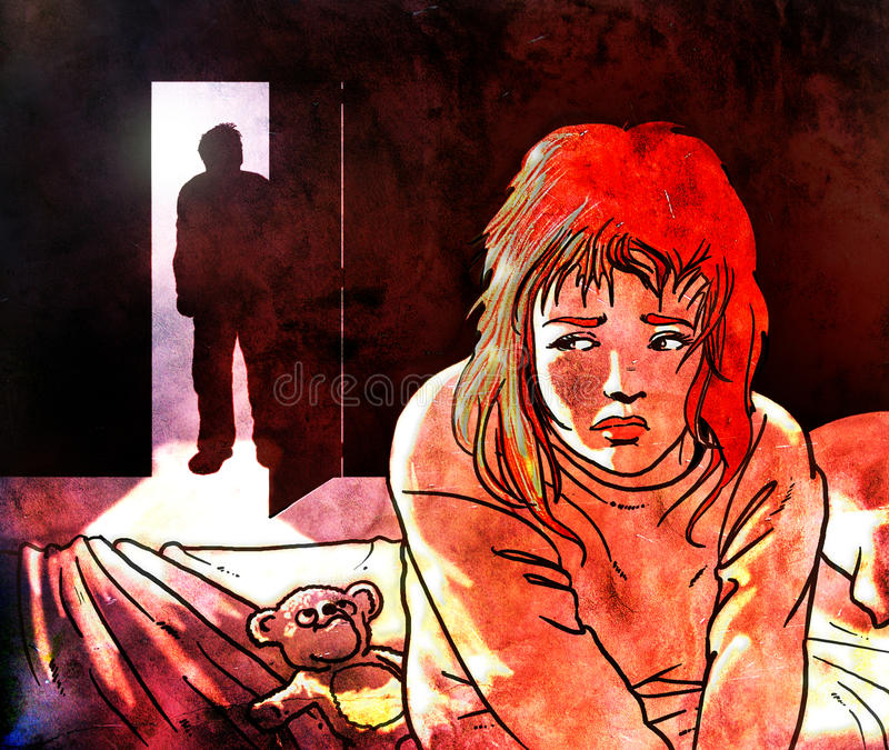 Child abuse. Sat on her bed, her cuddly bear near her, a frightened girl knows the bad intentions of the man who is coming to her room Image on a grunge