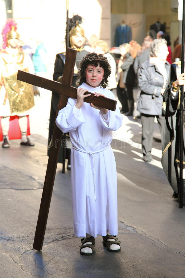 Download Child Acting As Jesus In Palermo Easter Parade Editorial Photo - Image of easter, april: 19070991