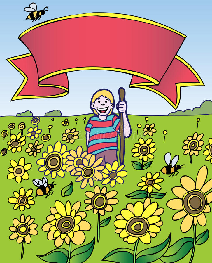 Download Child Adventure: Sunflower Field With Banner Royalty Free Stock Photography - Image: 9383057