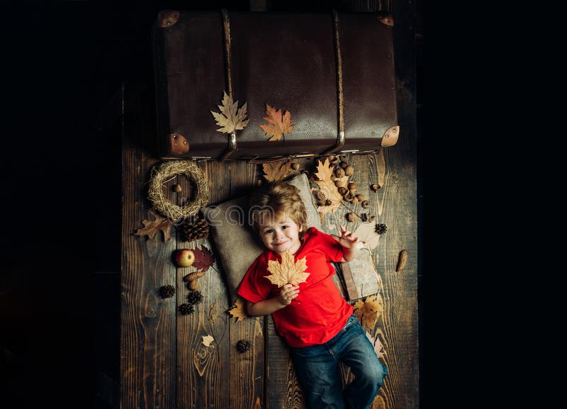 Child advertise your product and services. The biggest discounts for all autumn clothes for children. Kid playing in royalty free stock photos