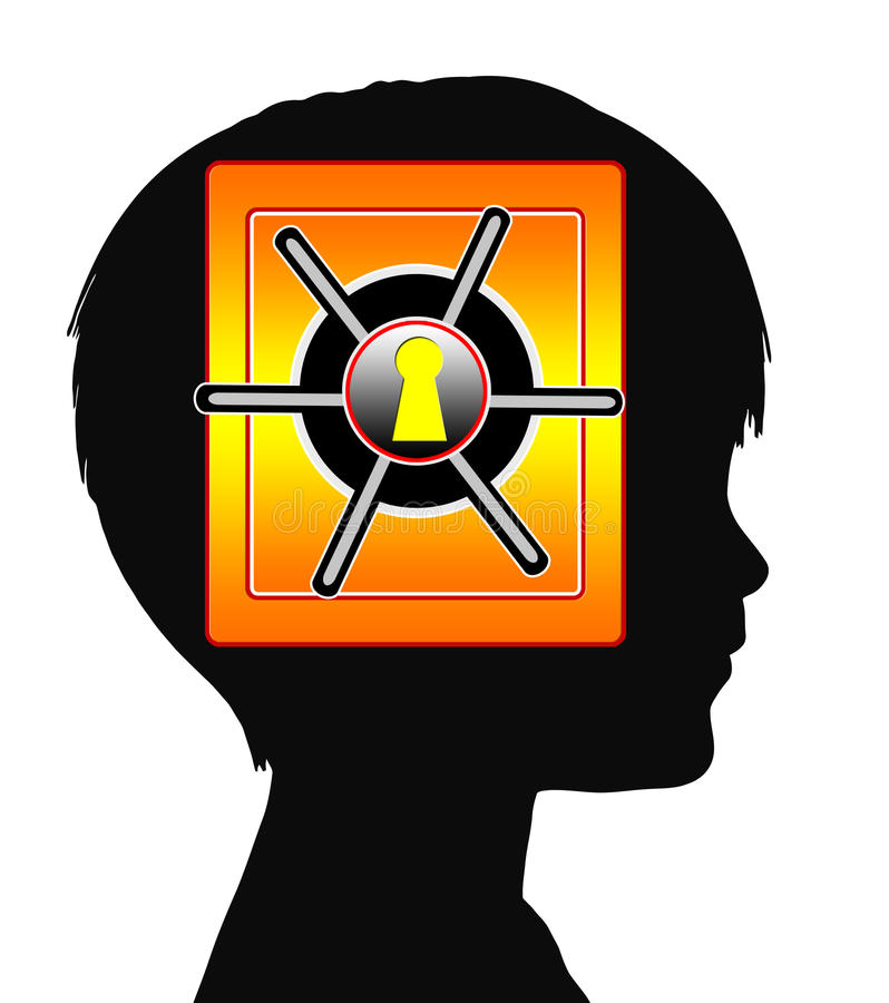 Child with Amnesia or Autism. Concept sign of traumatic and mental disorder in early childhood royalty free illustration