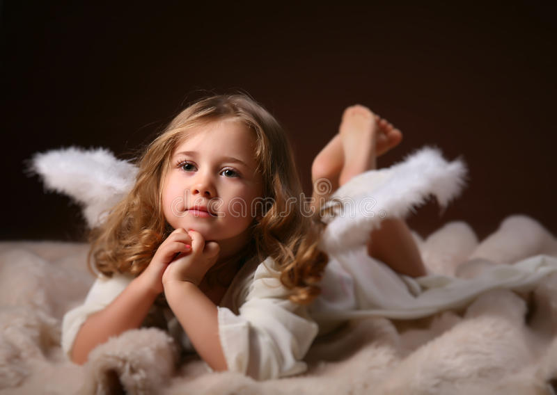 The child-angel stock images