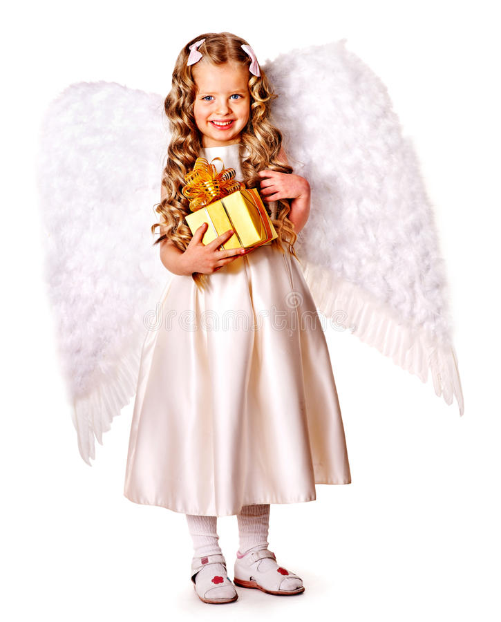 Download Child At Angel Costume Holding Gift Box. Stock Image - Image of full, curly: 35353581
