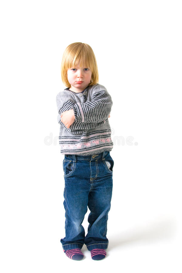 Child angry annoyed. Child isolated on white with angry or annoyed expression stock photography