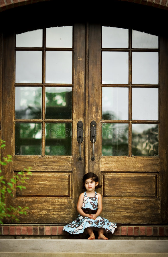 Download Child and antique door stock image. Image of clothes, close - 5730819