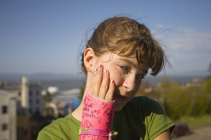 Download Child With Arm In Plaster Cast Stock Photo - Image: 718934