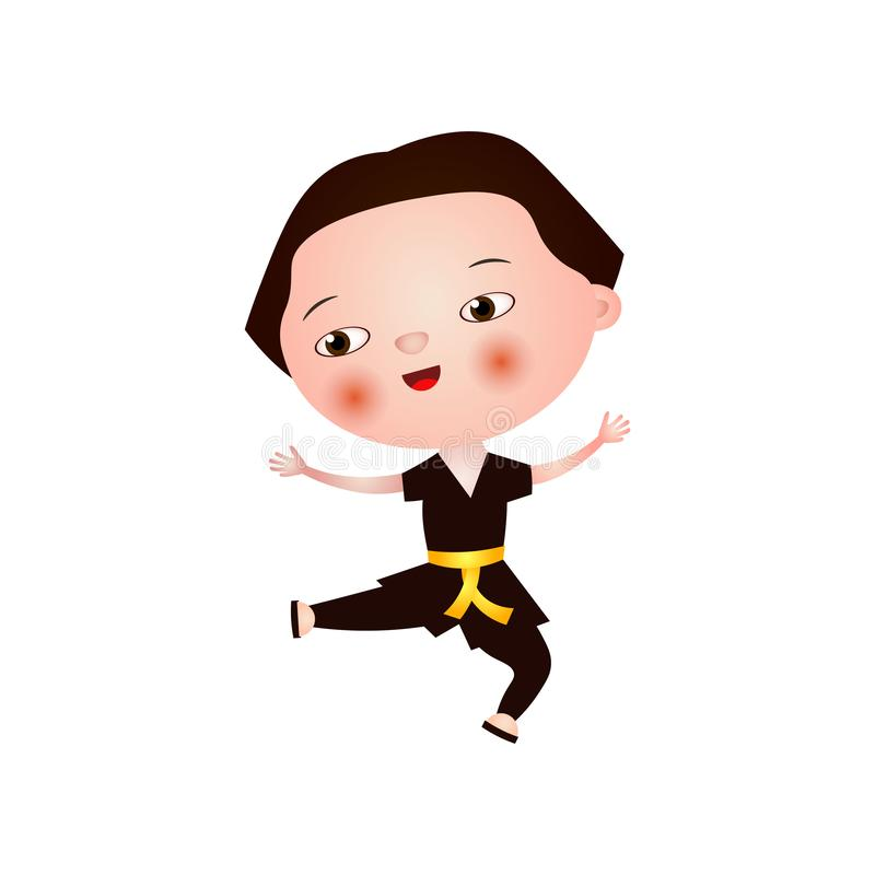 Satisfied little asian boy does karate isolated on white background. Child asian fighter in brown kimono is engaged in karate, taekwondo, aikido, judo vector illustration