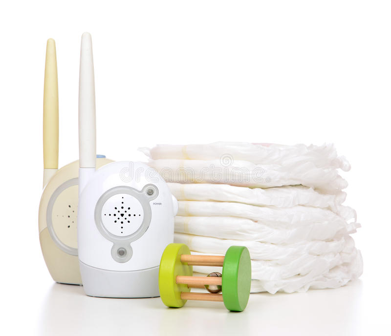 Child baby kid radio monitor device stack of diapers and baby to stock photo