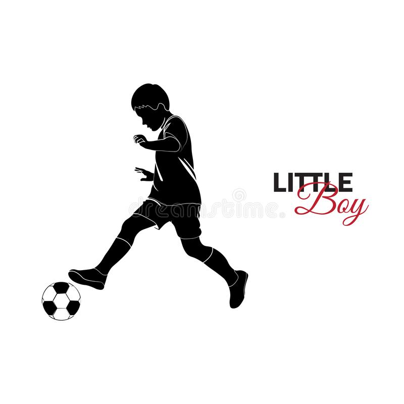 Child, baby. Little boy playing soccer. Little child, baby. Little boy playing soccer vector illustration