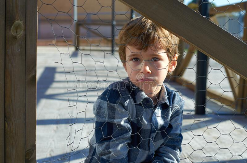Child  by bad behavior. Full of negative emotions.child conflict concept stock images