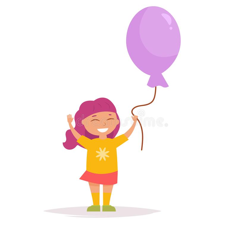 Child with a balloon. In his hands Vector. Cartoon. Isolated art on white background. Flat royalty free illustration