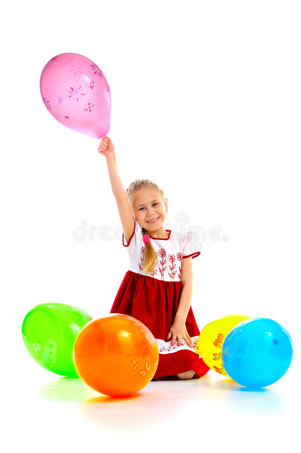 Child with balloons royalty free stock image