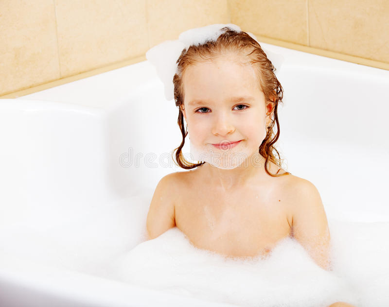 Child In The Bathtub Stock Photo