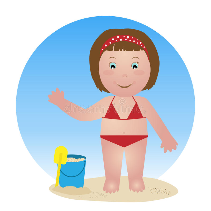 Download Child on the beach stock vector. Image of comic, happy - 14782339