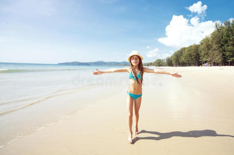 Child on a beach royalty free stock image