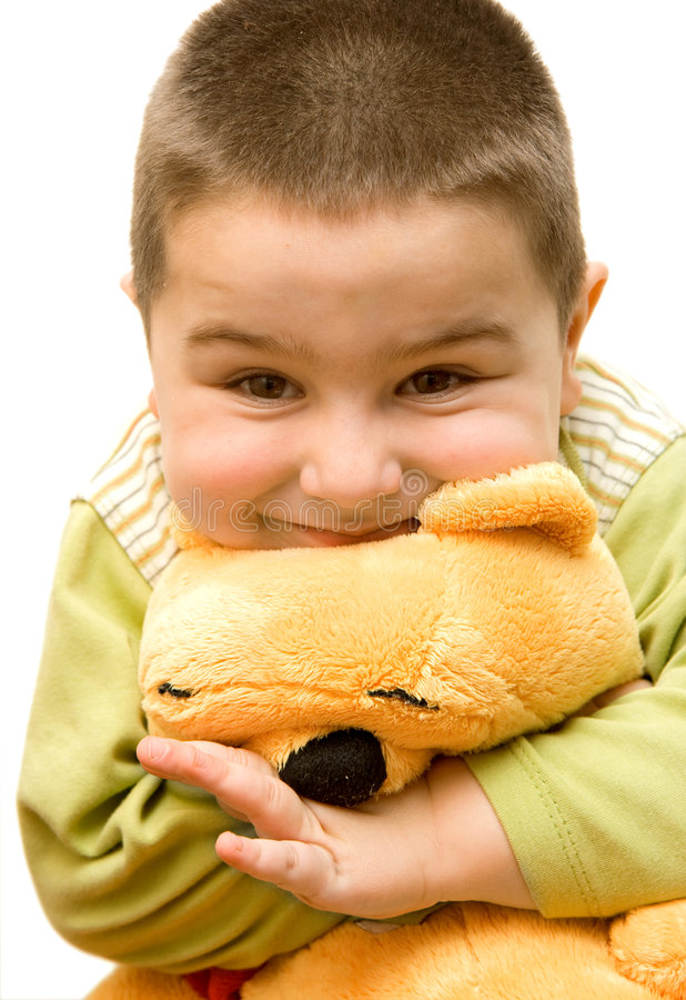 Child with bear stock photography