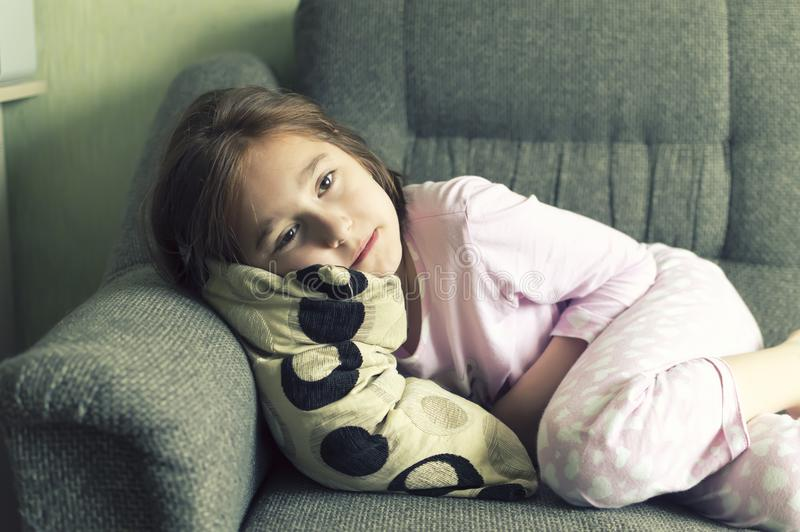 Child became ill in depression stock photo