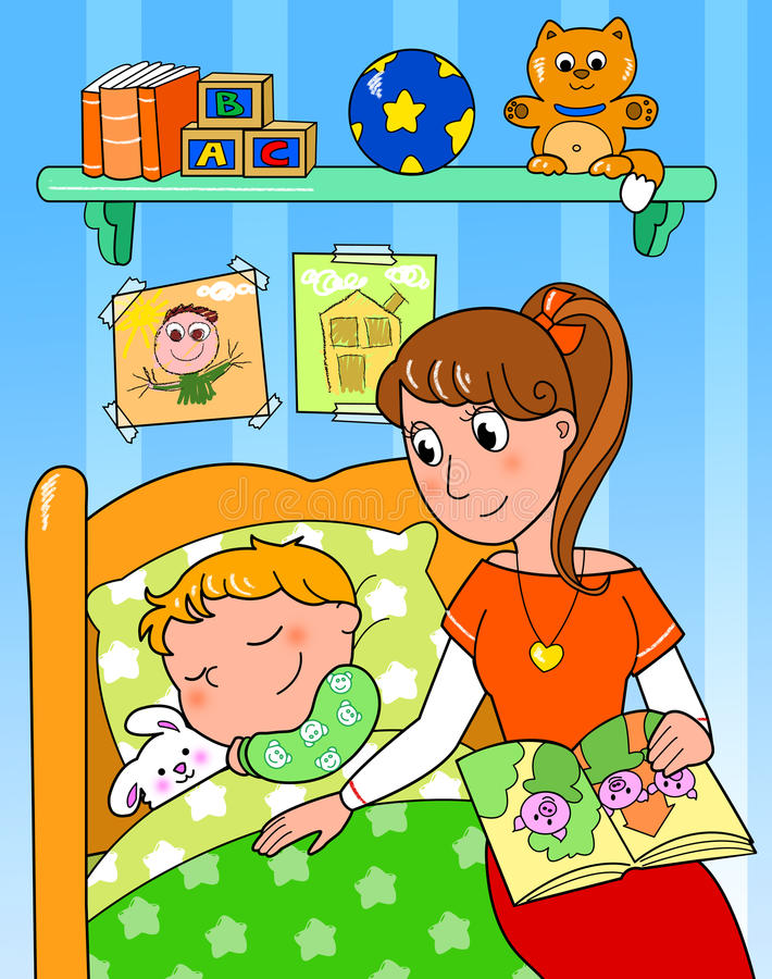 Download Child at bed with mom stock illustration. Image of sleeping - 24833151